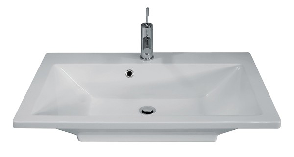 """Waschbecken """"DOMINO"""" weiss 80 cm breit von FACKELMANN"""