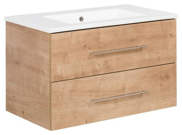"""Waschtisch-Unterschrank mit Becken Set """"B.perfekt"""" Ast-Eiche 80 cm breit von FACKELMANN"""