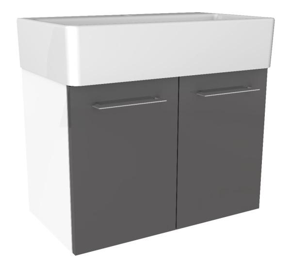 """Waschtisch-Unterschrank """"Lima"""" Weiss/Basalt Grau 59 cm breit von FACKELMANN"""