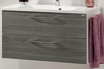 """Waschtisch-Unterschrank """"VADEA"""" Weiß Glanz/Pinie-Anthrazit 90 cm breit von FACKELMANN"""