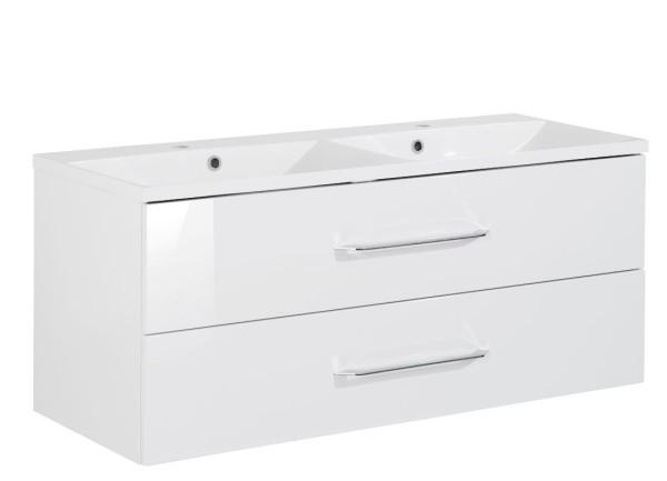 """Waschtisch-Unterschrank mit Becken Set Double """"B.clever"""" Weiss 120 cm breit von FACKELMANN"""