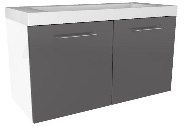 """Waschtisch-Unterschrank """"Lima"""" Weiss/Basalt Grau 80 cm breit von FACKELMANN"""