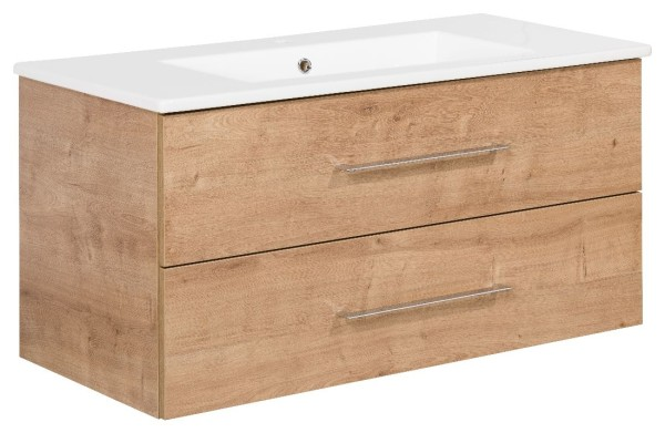 """Waschtisch-Unterschrank mit Becken Set """"B.perfekt"""" Ast-Eiche 100 cm breit von FACKELMANN"""