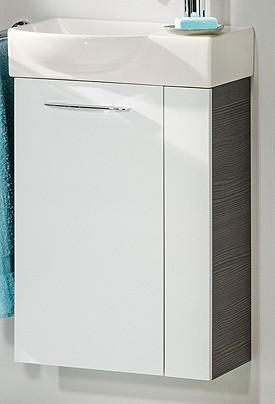 """Gäste-WC Waschtisch-Unterschrank """"VADEA"""" Pinie-Anthrazit/Weiss 44 cm breit von FACKELMANN"""