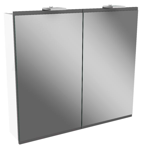 """Spiegelschrank """"Lima"""" Weiss/Basalt Grau 80 cm breit von FACKELMANN"""