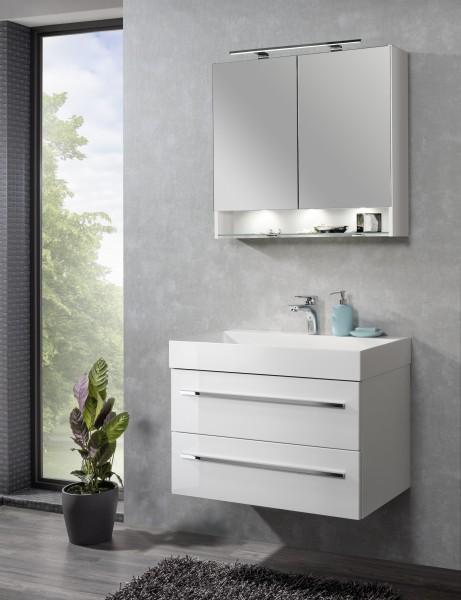 Set LZ150 mit Spiegelschrank Weiß von Lanzet
