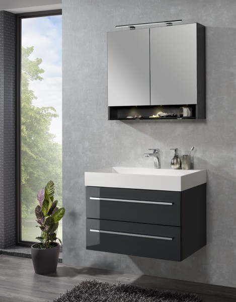 Set LZ150 mit Spiegelschrank Grafit von Lanzet