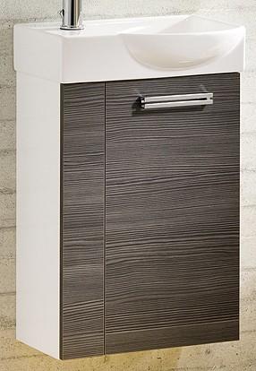 """Gäste-WC Waschtisch-Unterschrank """"COMO"""" Weiss/Pinie-Anthrazit 44 cm breit von FACKELMANN"""